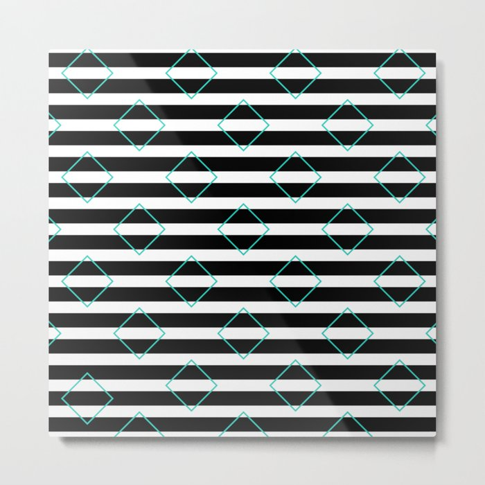 Black and White Stripes And Cyan Blue Squares Pattern Metal Print