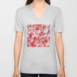 red orange maple leaves watercolor painting 2 Unisex V-Neck