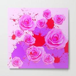PAINTING SPLATTERS FUCHSIA PINK ROSES RED ART Metal Print