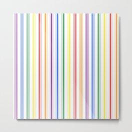 Solid Rainbow Mattress Ticking Wide Stripes Pattern Metal Print