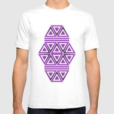 Violet Triangles MEDIUM Mens Fitted Tee White