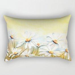 Daisies Watercolor Rectangular Pillow