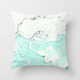 Light blue pastel marble Throw Pillow