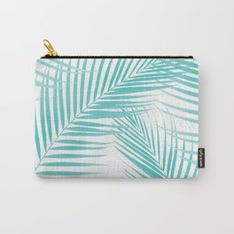 Soft Turquoise Palm Leaves Dream - Cali Summer Vibes #2 #tropical #decor #art #society6 Carry-All Pouch