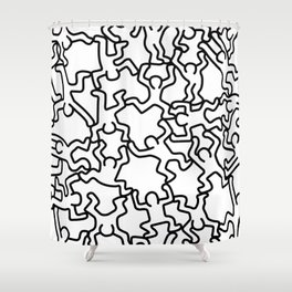 Doodles inspired to Keith Haring Shower Curtain
