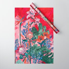 Ruby Red Floral Jungle Wrapping Paper