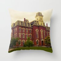 college Throw Pillows featuring College Hall by Folk City