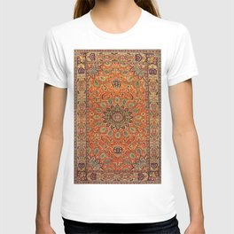 Central Persia Qum Old Century Authentic Colorful Orange Yellow Green Vintage Patterns T-shirt