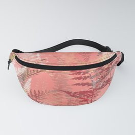 Elegant Coral Gold Fern Leaves Abstract Pattern Fanny Pack