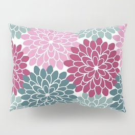 Petals in Rose, Maroon and Light and Dark Cyan Pillow Sham