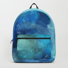 Abstract navy blue teal turquoise watercolor pattern Backpack
