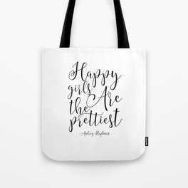 girls room Quote,happy Girls Are The Prettiest, Nursery Decor,Nursery Girls, Gift For Her Tote Bag
