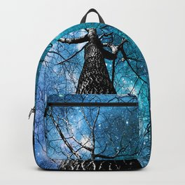 Wintry Trees Galaxy Skies Teal Blue Violet Backpack