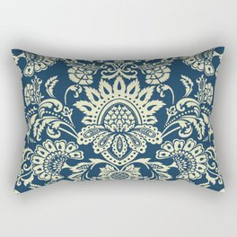 damask in white and blue vintage Rectangular Pillow