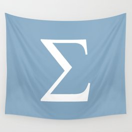 Greek letter Sigma sign on placid blue background Wall Tapestry