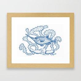 Joli poisson bleu Framed Art Print