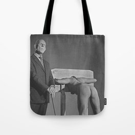 Pillory - Naked woman locked in a wooden pillory Tote Bag