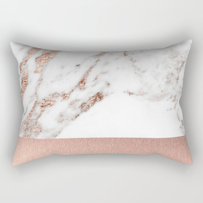 Rose gold marble and foil Rectangular Pillow