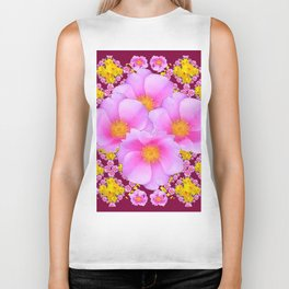 Pink & Yellow Burgundy Rose Flowers Art Biker Tank