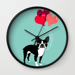 Boston Terrier Valentine heart balloons for pet owners and dog lovers gift for someone they love Wall Clock