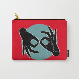 Sign Language (ASL) Interpreter – Black on Turquoise 01 Carry-All Pouch