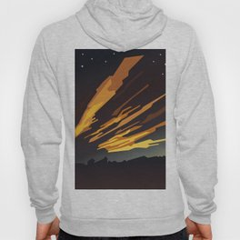 Sunrise cartoon landscape and comet tails Hoody