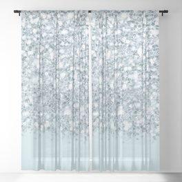Silver & Alice Blue Glitter Ombre Sheer Curtain