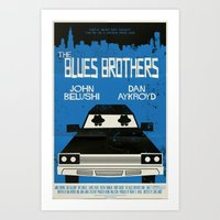 blues brothers Art Prints featuring The Blues Brothers by Mark Welser