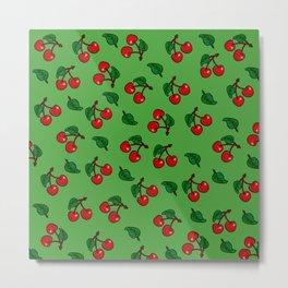 Cherries on green Metal Print