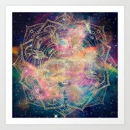 Stylish Gold mandala watercolor & Nebula Colorful Design Art Print