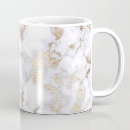 Modern Chic White Gold Foil Marble Pattern Coffee Mug