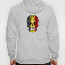 Sugar Skull with Roses and Flag of Belgium Hoody