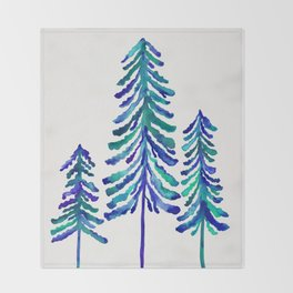 Pine Trees – Navy & Turquoise Palette Throw Blanket