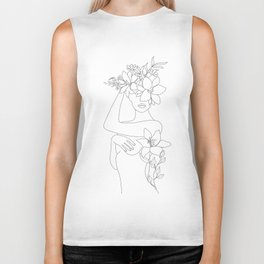 Minimal Line Art Woman with Flowers VI Biker Tank