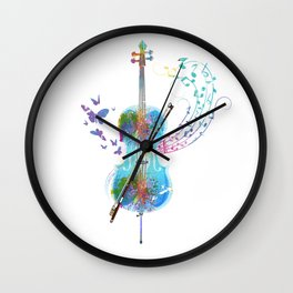 Butterfly Cello Instrument Wall Clock