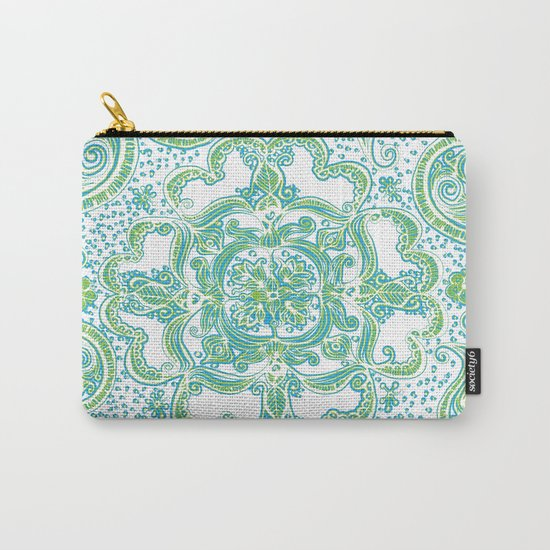 Paisley Mandala - Blue & Green Carry-All Pouch