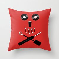 shaun of the dead Throw Pillows featuring Shaun of the Dead - Skull by Nick Kemp