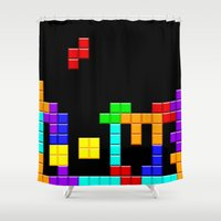 tetris Shower Curtains featuring Tetris Love by Wheel of Fortune