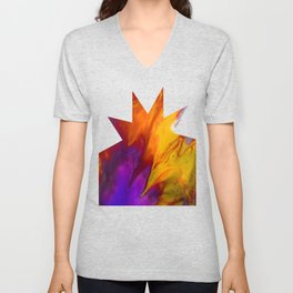 Fluid Abstract 37; The Fire Rages On Unisex V-Neck