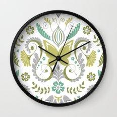 Butterfly Damask - Spring Mod Wall Clock