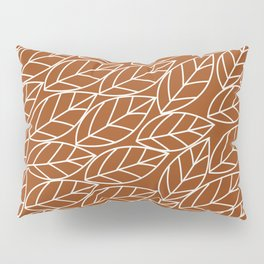 Doodle Leaves Rust and Light Grey (almost white) Pillow Sham