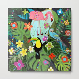 Parrots, Toucan and Flamingo Tropical Birds Tropical Forest Pattern Metal Print