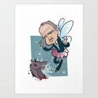 godfather Art Prints featuring Fairy Godfather by breakfastjones