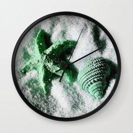 Ocean Life in Green Wall Clock