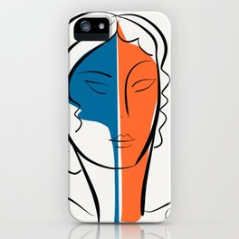 Pop Minimal Portrait in Blue and Orange iPhone Case
