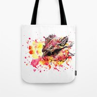 smaug Tote Bags featuring Watercolor Smaug by Trinity Bennett