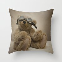 teddy bear Throw Pillows featuring Teddy by Mary Kilbreath