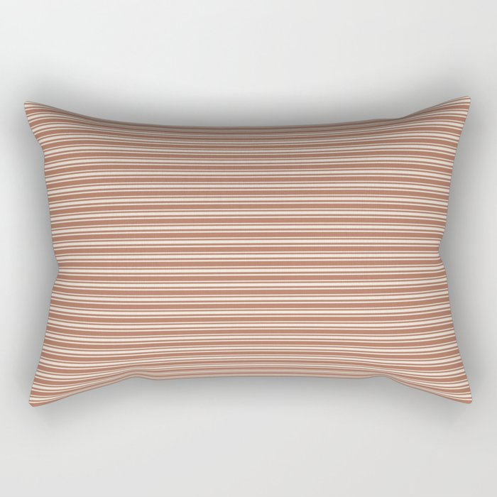 Creamy Off White SW7012 Horizontal Line Patterns 2 on Cavern Clay Warm Terra Cotta SW 7701 Rectangular Pillow