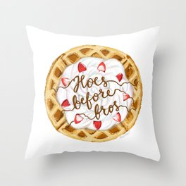 Hoes Before Bros Waffle Throw Pillow