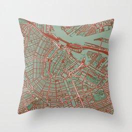 Amsterdam city map pop Throw Pillow